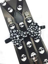 Halloween Skull Head Design Bow Tie & Suspender Set Tuxedo Wedding Accessories