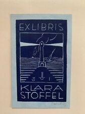 Ex-libris Alsace Ernest HUBER pour Klara Stoffel, 95 x 60 mm, violet