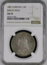 1887 Great Britain Victoria Half Crown NGC AU55 Jubilee Head.925 Silver @ KM#764