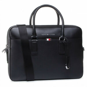 TOMMY HILFIGER Business office Leather Laptop Bag Slim Cross Body Briefcase File