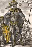 Gravure XVIIe Roi du Congo Kongo Afrique Congolais Africa