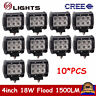 10X 4inch 18W LED Work Light Flood Pods OffRoad SUV Jeep Truck Boat Ford 4WD ATV