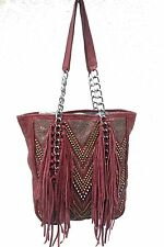 Kippys (Raw Stitch) Leather Handbag Tote w/ Fringe, Crystals & Spikes - Burgundy