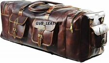 "Duffel Extra Space bag 30"" Men's Genuine Leather luggage gym weekend overnight"