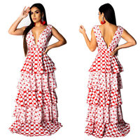 Sexy Women Sleeveless Deep V Neck Print Long Party Casual Tiered Ruffled Dress
