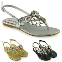 Womens Toe Post Sandals Summer Ladies Dangly Sparkly Diamante Holiday Slingback