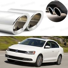 2Pcs Car Exhaust Muffler Tip Tail Pipe Trim Silver for VW Jetta 2011-2017 #5038