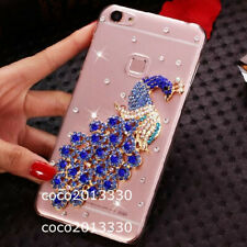 Bling Diamonds Glitter Peacock Soft back clear Phone Covers Cases Skin For HTC
