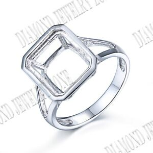 Wedding Romantic Ring Emerald 10x12mm Prong Setting Sterling Silver 925 Plate