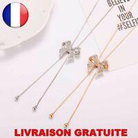 Colliers et Pendentifs Femme Noeud Bijoux Mode Strass Or Argent Cadeau