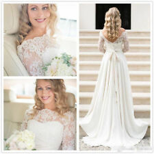Boat Neck A-line Long Sleeve Wedding Dresses