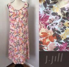 J Jill Floral Dress 12 Pink Orange White Tan A Line Summer Pockets