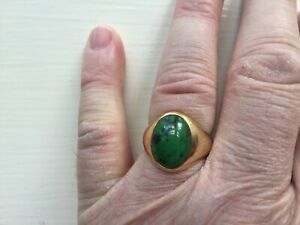 Mens RIng, Malachite 5.76 Carets, 14k Yellow Gold