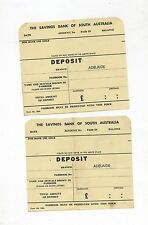 The Savings Bank of South Australia Deposit Slips Adelaide Branch in Pounds
