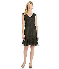 Adrianna Papell Black Banded Mesh Formal Cocktail Dress Wedding Guest $178  10