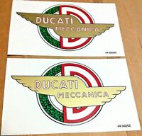 "1957-63 DUCATI MECCANICA 2-1/2 X 4-1/2"" gas petrol tank transfer sticker, pair"