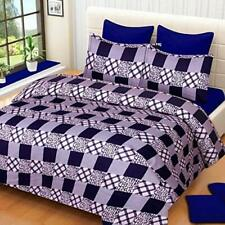 Homes 3D Printed Poly Cotton Double Bedsheet with 2 Pillow Covers (Purple)