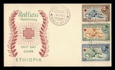 DR WHO 1955 ETHIOPIA FDC RED CROSS ANIV CACHET COMBO  f95850