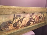 Antique Late 19th Century Yard Long Lithograph Print Of A Yard Of Kittens