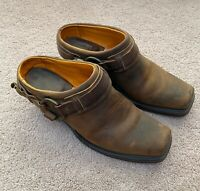 FRYE Brown Leather Belted Harness Clog Boots Slip On Mules 70760 Women's 8.5 M
