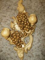 "Vintage Gold Ceramic Candle Sconce 7 x 14"""