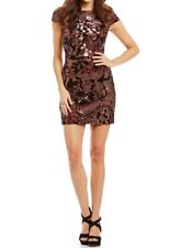 VINCE CAMUTO Dress Size 2 Bronze Sequin Velvet Mini Cap Sleeves XS Party $188