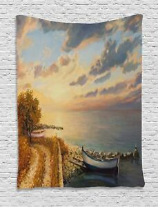 Art Tapestry Romantic Sunrise by Sea Print Wall Hanging Decor 60Wx80L Inches