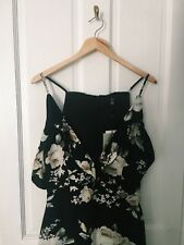 BNWT Missguided Womens Black Floral Plunge Wrap Maxi Dress - Size 10