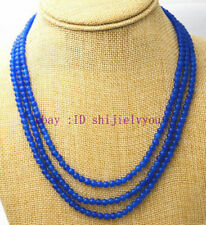 """Fashion 3 rows 4 mm blue sapphire bead necklace 17-19 """""""