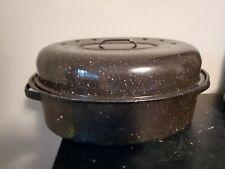"""Vintage Savory Enamel Roasting Pan Roaster With Lid Black 15"""""""