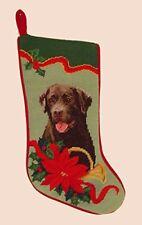 Chocolate Labrador Needlepoint Stocking