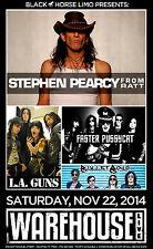 STEPHEN PEARCY /L.A. GUNS /FASTER PUSSYCAT 2015 HOUSTON CONCERT TOUR POSTER-Ratt