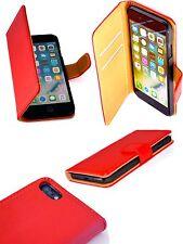 Genuine Italian Red Saffiano Leather Folio Case Wallet Cover Apple iPhone 8