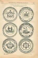 Faïences Patriotiques de la Révolution Assiettes GRAVURE ANTIQUE OLD PRINT 1873