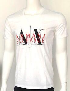 Armani Exchange T Shirt Muscle Slim Fit White Shirt AX Logo Graphic Large L NWT
