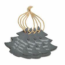 Personalised Engraved Christmas Tree Slate Decoration - Christmas Tree Set of 4
