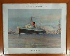 Cie Gle Transatlantique Portrait Paquebot Ville d'Alger affiche A. Sebille 50