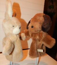 Vintage Hand Puppets Suzy Toys Plush Bunny Rabbit & Puppy Dog Lot HTF