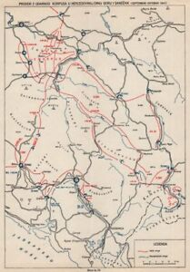 YUGOSLAVIA. 2 Corps in Herzegovina Montenegro Sandzak Sept-Oct 1943 1957 map