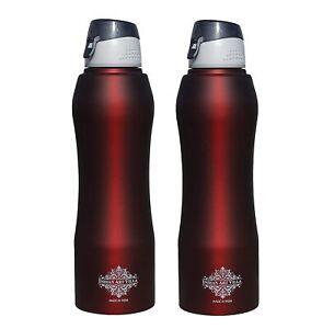 Stainless Steel Water Bottle New Sipper Cap Red/ Wine Matt 1000 ML, Set of 2
