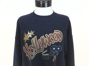 HOLLYWOOD Vintage Sweatshirt Blue Stars Camera 80s 90s Womens L RARE