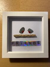 HANDMADE BEACH PEBBLE WALL ART PICTURE, 'FRIENDS' SILVER LETTERING
