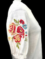 Ann Taylor  LOFT Boho Ivory Knit Top Floral Embroidered - Balloon Sleeves Sz Sm