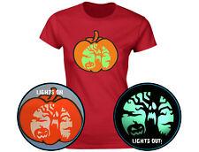 Spooky Halloween Scene Glow In The Dark Pumpkin Womens T-Shirt (12 Colours)