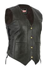 Women's 10 Pocket Cowhide Leather Motorcycle Biker Vest Black & Brown