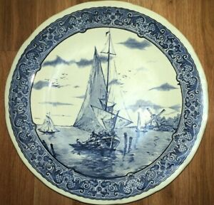 Vintage Delft Boch Royal Sphinx Charger Wall Plate Belgium Excellent
