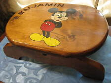 Child's Wood Step Stool with Handpainted Mickey Mouse and Carved Name Benjamin
