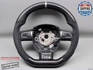 Audi A4 RS4 B7 A5 S5 4F A6 A8 Q7 8mm Silver Alcantara Carbon Steering Wheel V3
