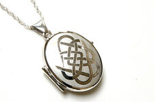 """Solid Sterling Silver Celtic Locket Pendant and 18"""" chain Gift Boxed Necklace"""