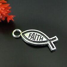 Faith Jesus Fish Charms Pendants 39227 89Pc Antique Silver Tone Vintage Alloy